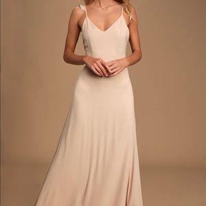 LuLus Meteoric Rise Blush Maxi Dress
